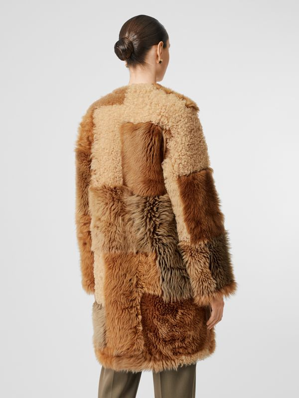 Patchwork Shearling Coat in Toffee - Women | Burberry - cell image 3