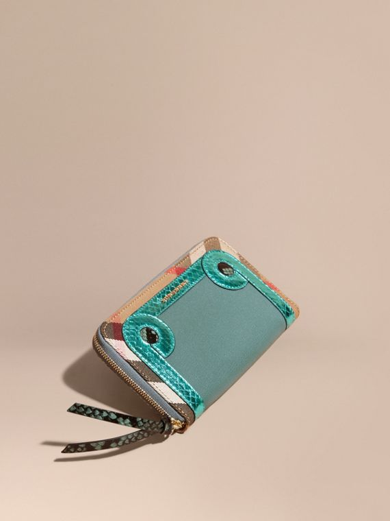 Snakeskin and House Check Ziparound Wallet Celadon Blue