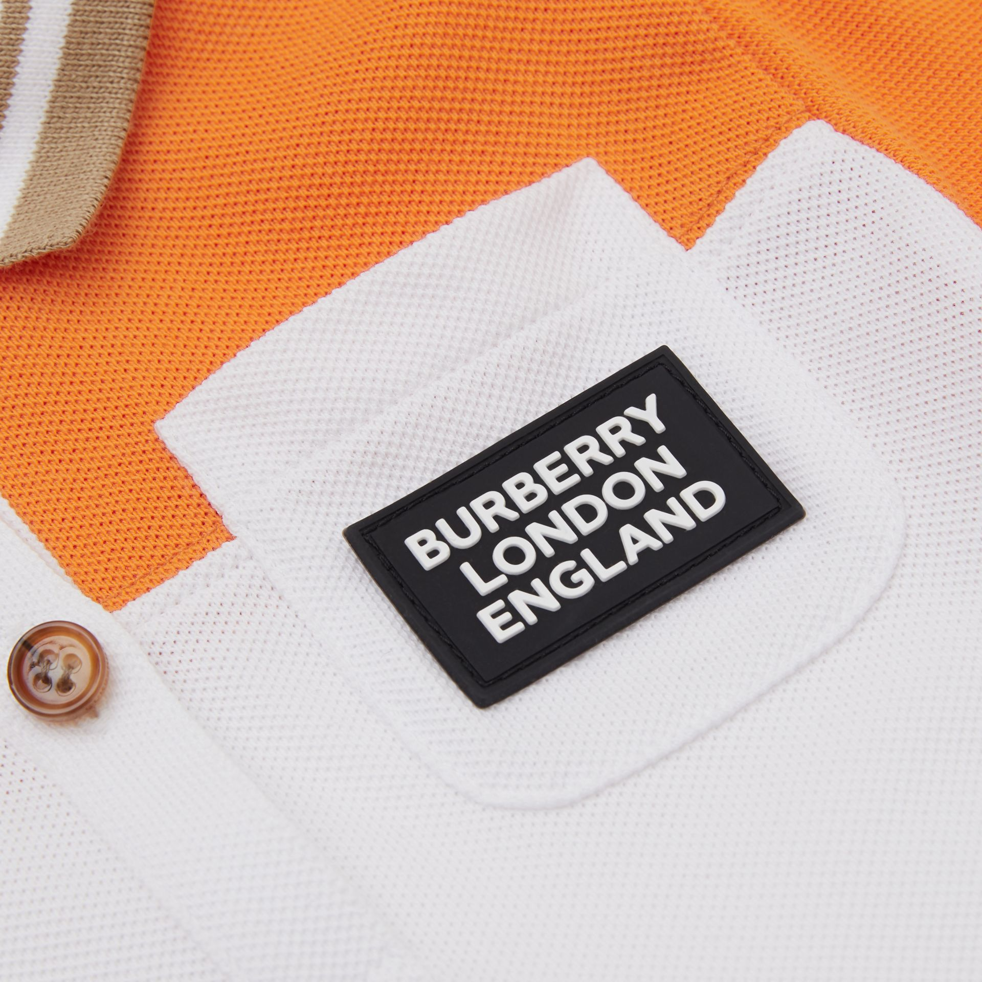 Colour Block Cotton Polo Shirt Dress in Bright Mandarin - Children | Burberry United Kingdom - gallery image 1