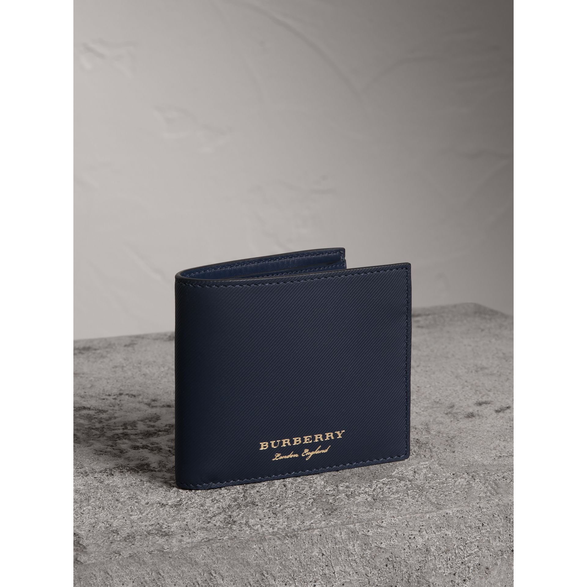 Trench Leather International Bifold Wallet in Ink Blue - Men | Burberry Canada - gallery image 0