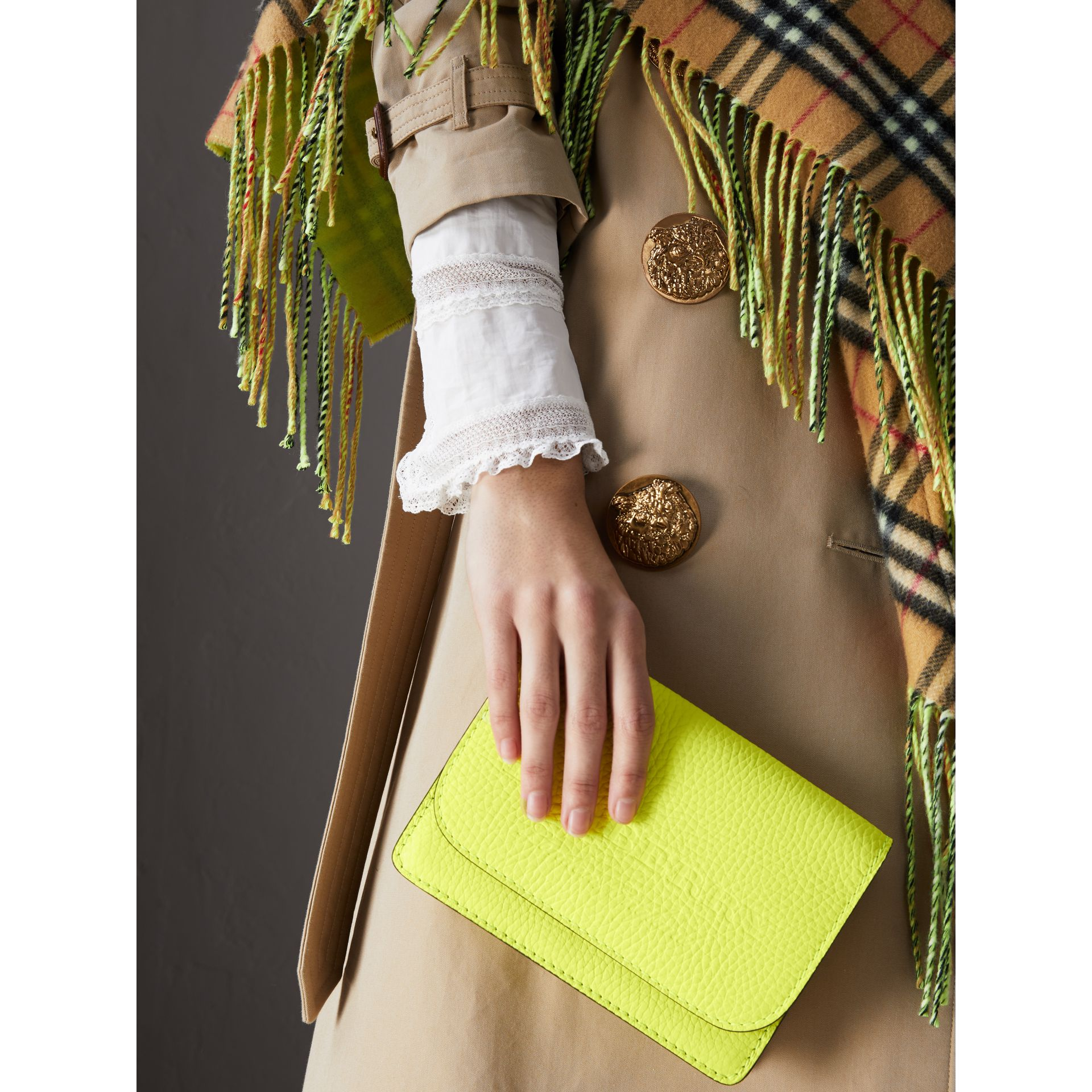 Embossed Leather Wallet with Detachable Strap in Bright Yellow - Women | Burberry - gallery image 6