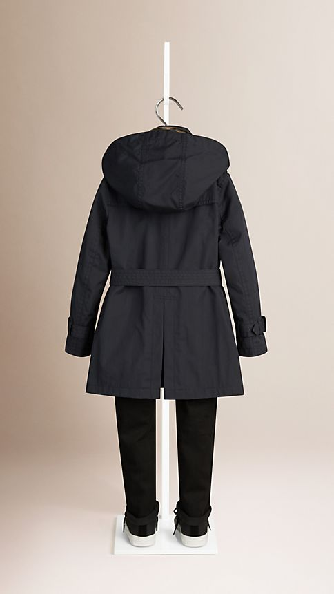 Navy Hooded Cotton Twill Trench Coat Navy - Image 3