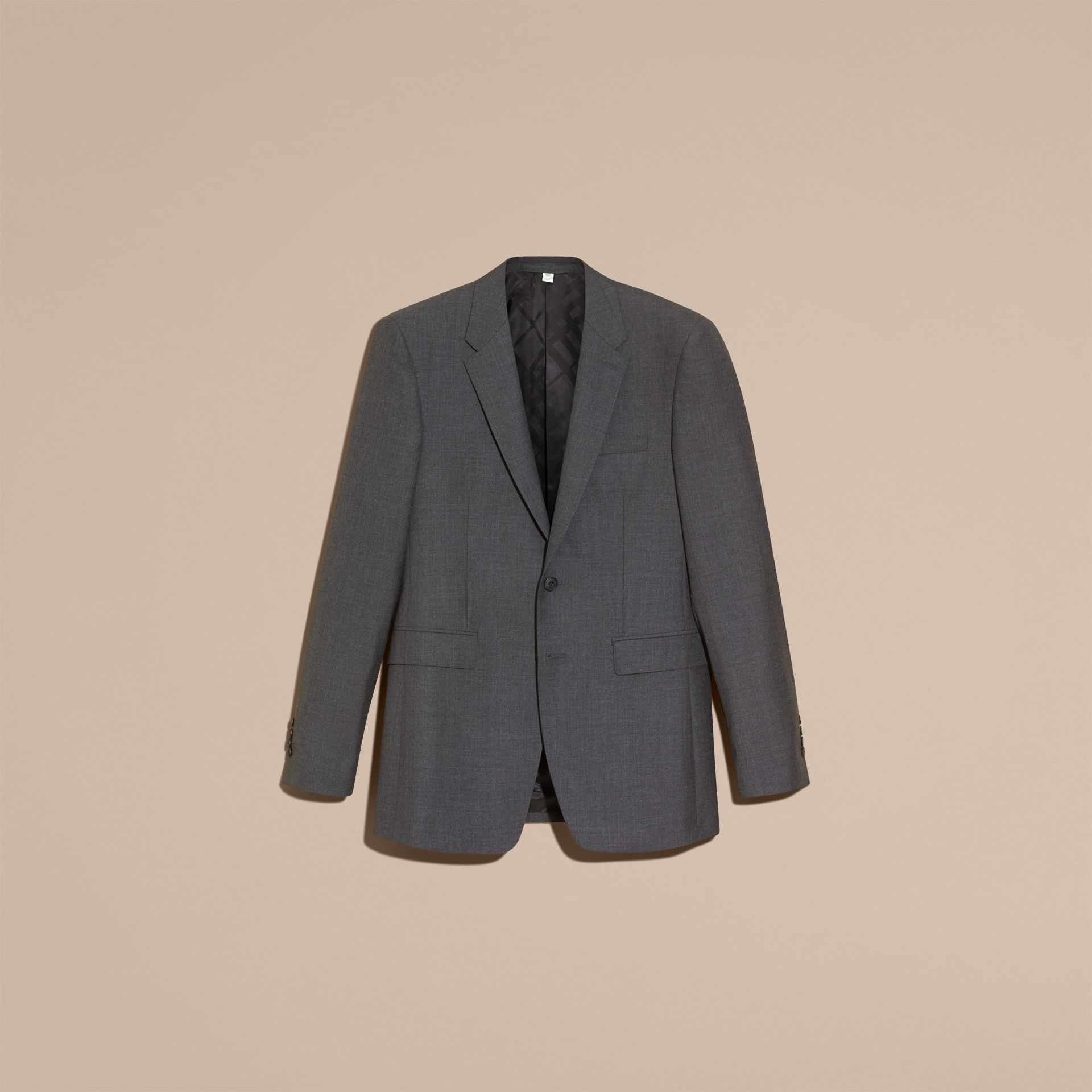 Modern Fit Wool Part-canvas Suit Charcoal - gallery image 4