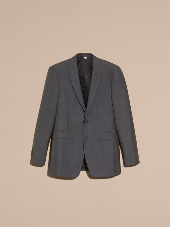Modern Fit Wool Part-canvas Suit in Charcoal - cell image 3