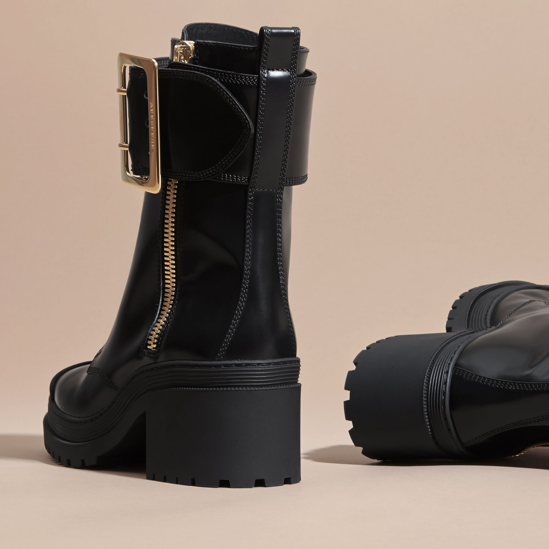 Black Leather Buckle Detail Boots Black - gallery image 4