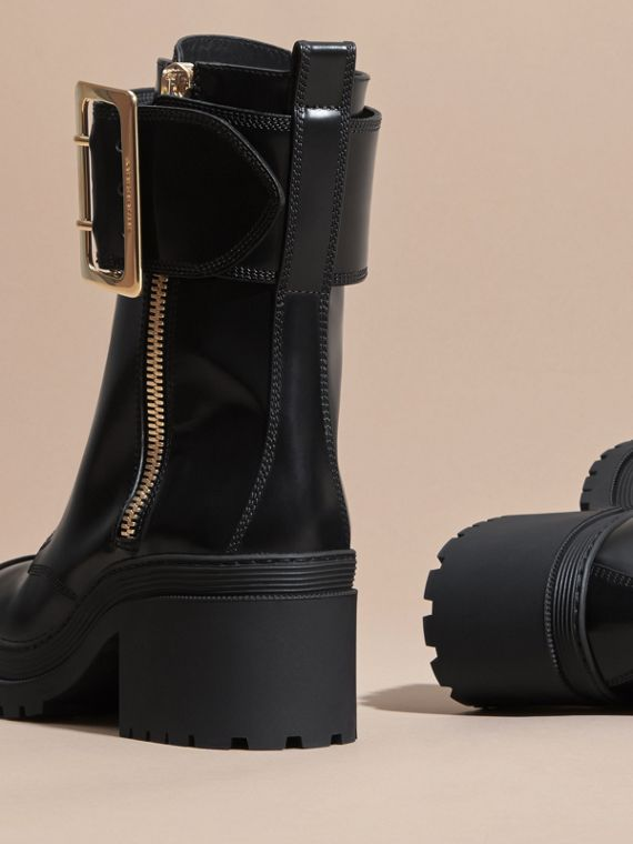 Leather Buckle Detail Boots Black - cell image 3