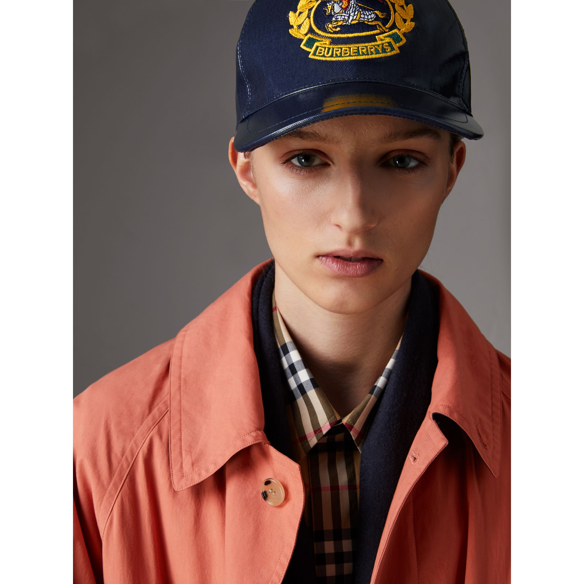 Archive Logo Coated Cotton Baseball Cap in Navy | Burberry - gallery image 2