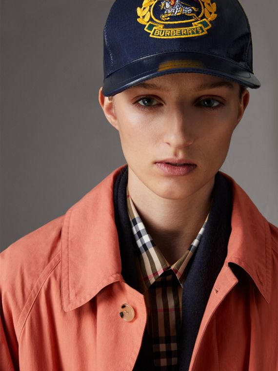 Archive Logo Coated Cotton Baseball Cap in Navy | Burberry - cell image 2