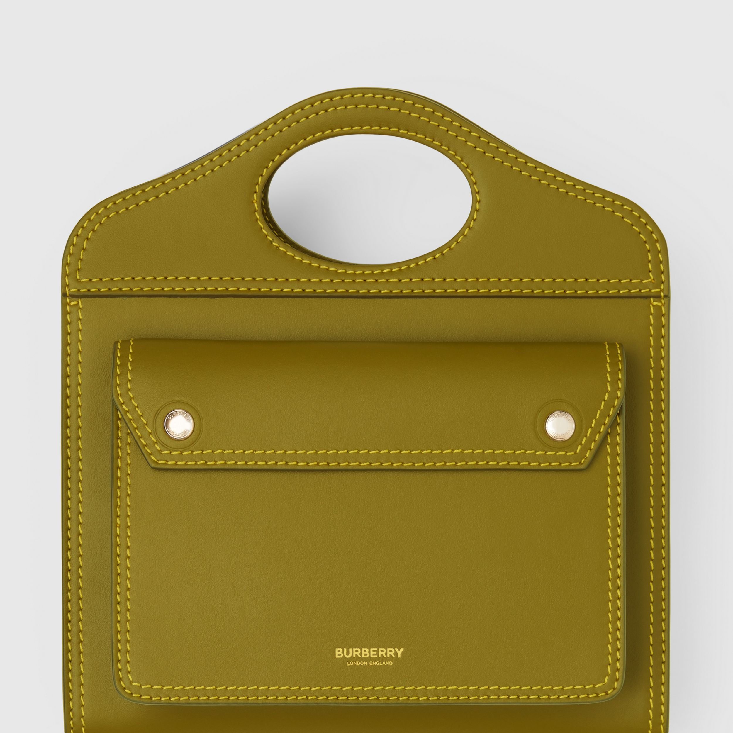 Mini Topstitched Leather Pocket Bag in Juniper Green - Women | Burberry Singapore - 2