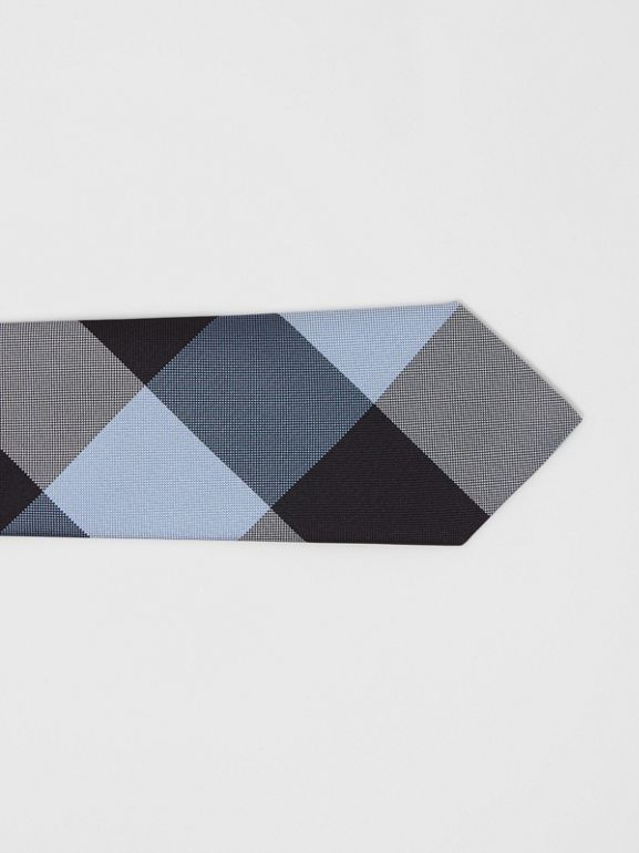 Modern Cut Oversized Check Silk Tie in Pale Blue - Men | Burberry United Kingdom - cell image 1