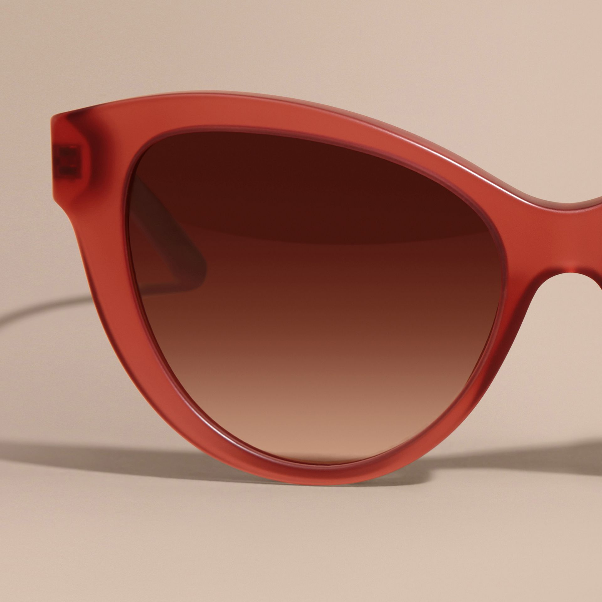 Red 3D Check Cat-eye Sunglasses Red - gallery image 5