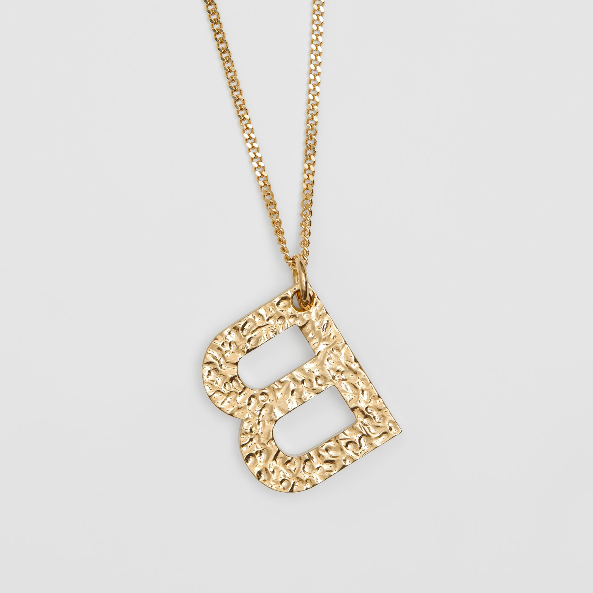 'B' Alphabet Charm Gold-plated Necklace in Light - Women | Burberry - gallery image 2