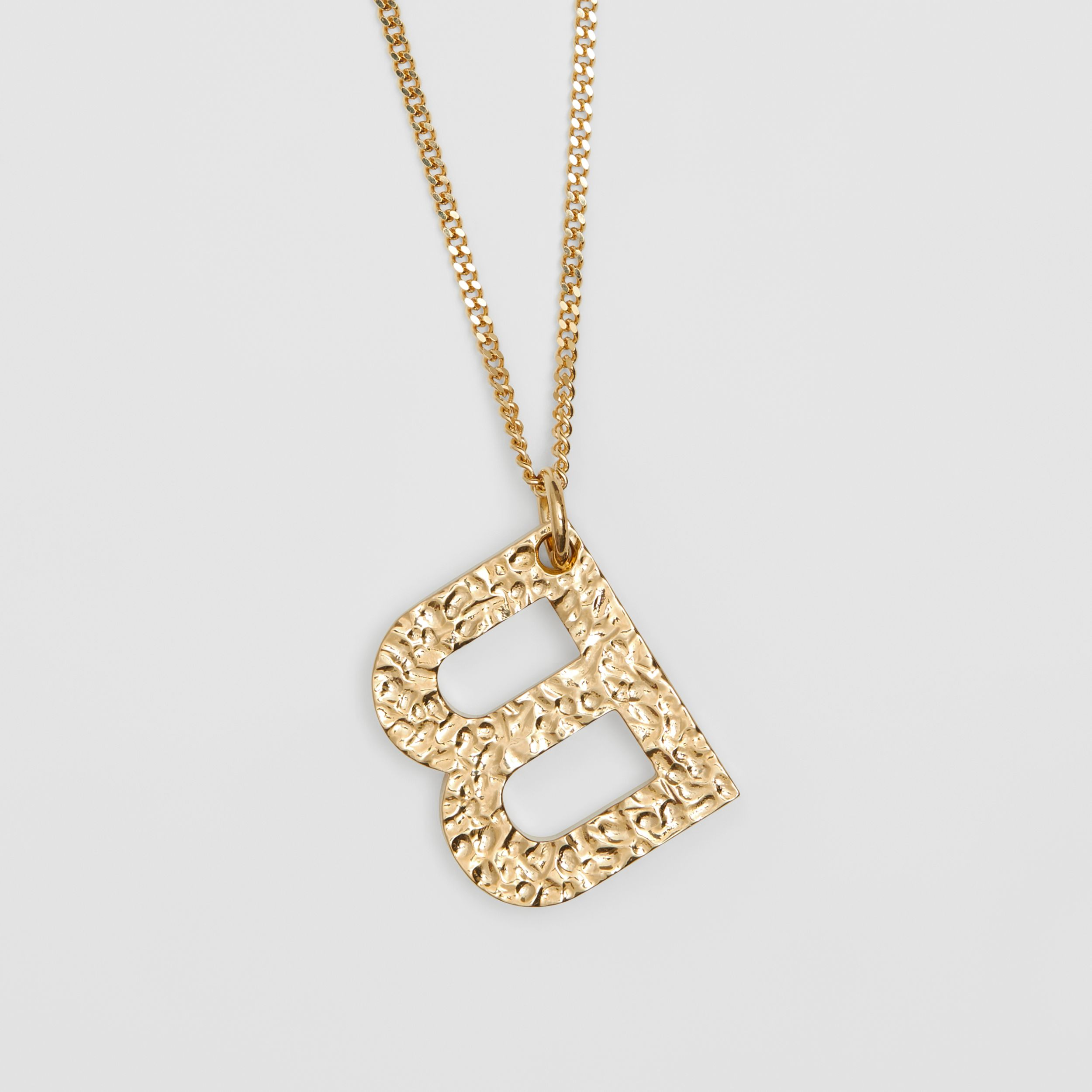 'B' Alphabet Charm Gold-plated Necklace in Light - Women | Burberry United Kingdom - 3