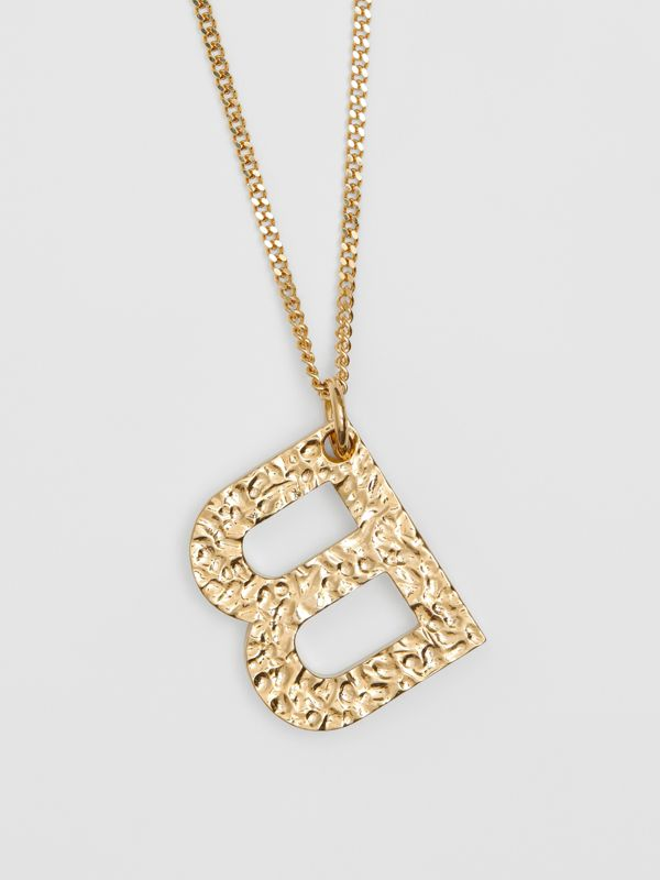 'B' Alphabet Charm Gold-plated Necklace in Light - Women | Burberry - cell image 2