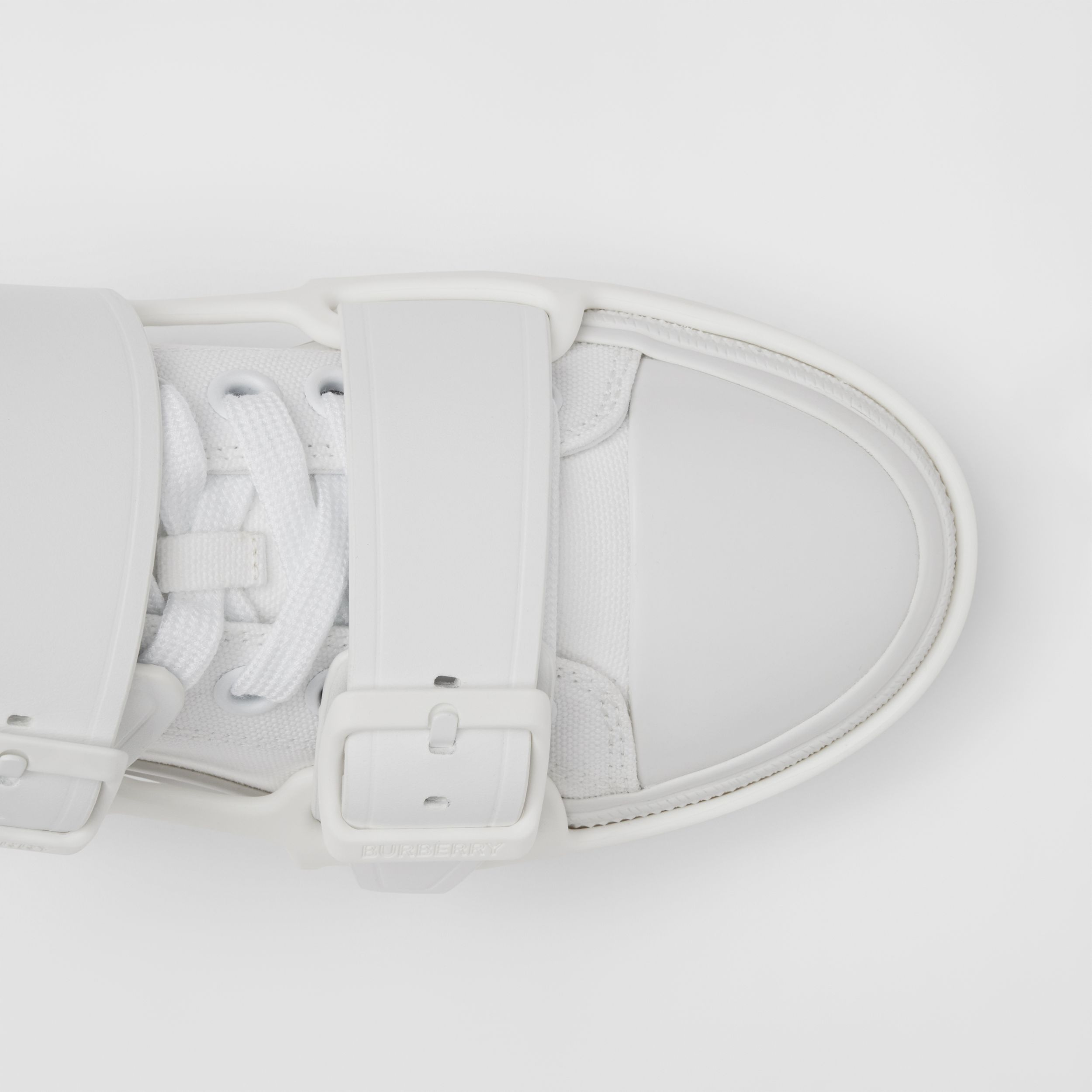 Cotton and Leather Webb Sneakers in White - Women | Burberry United Kingdom - 2