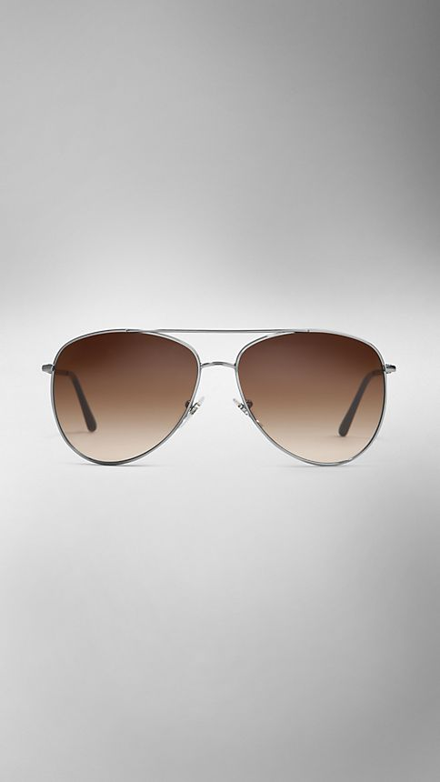 Nickel Check Arm Aviator Sunglasses - Image 2