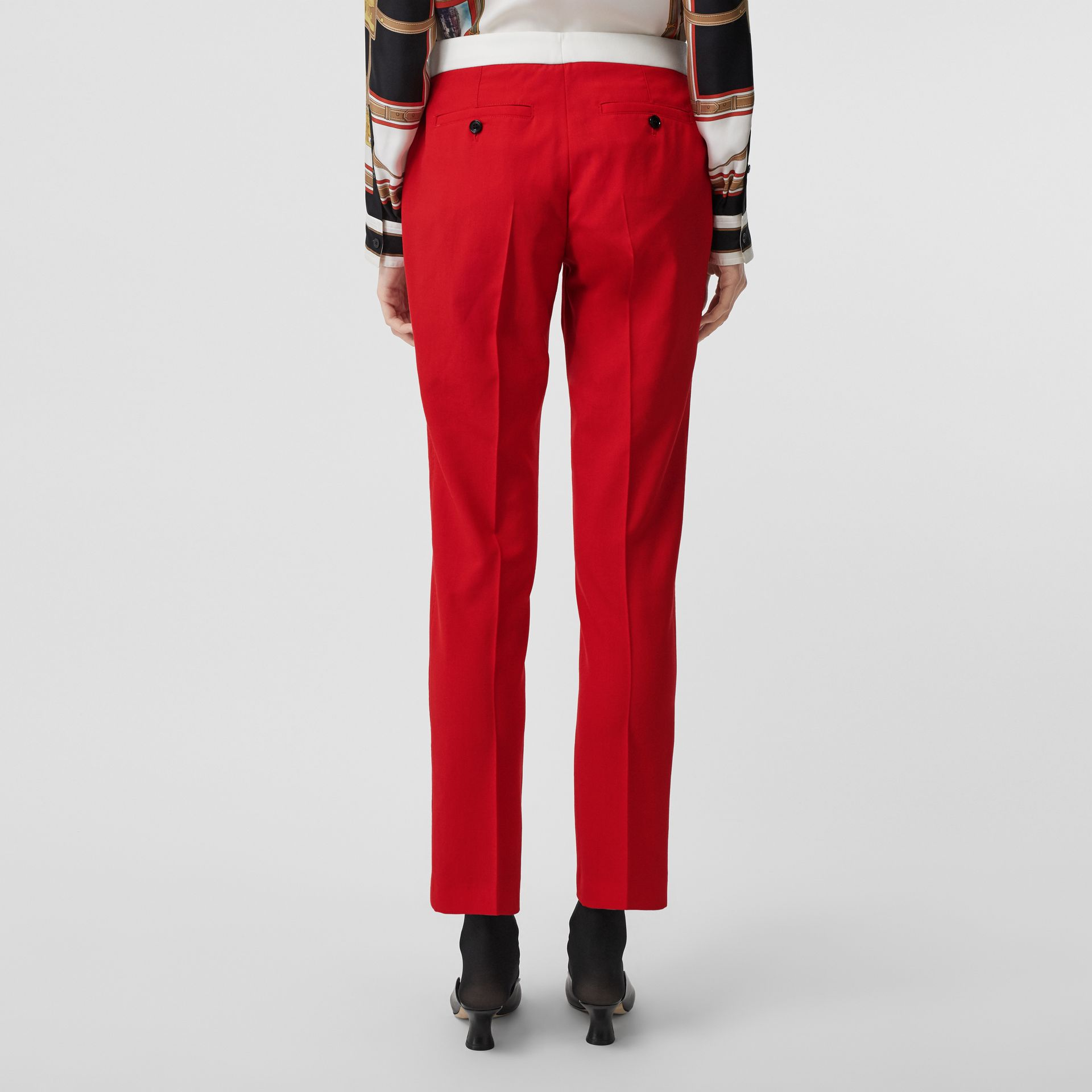 Two-tone Wool Tailored Trousers in Bright Red - Women | Burberry - gallery image 2