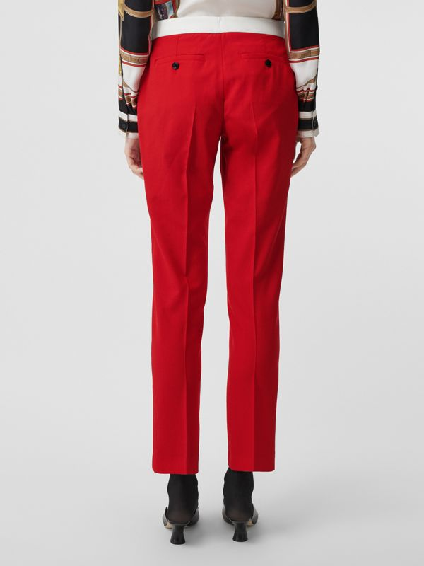 Two-tone Wool Tailored Trousers in Bright Red - Women | Burberry - cell image 2