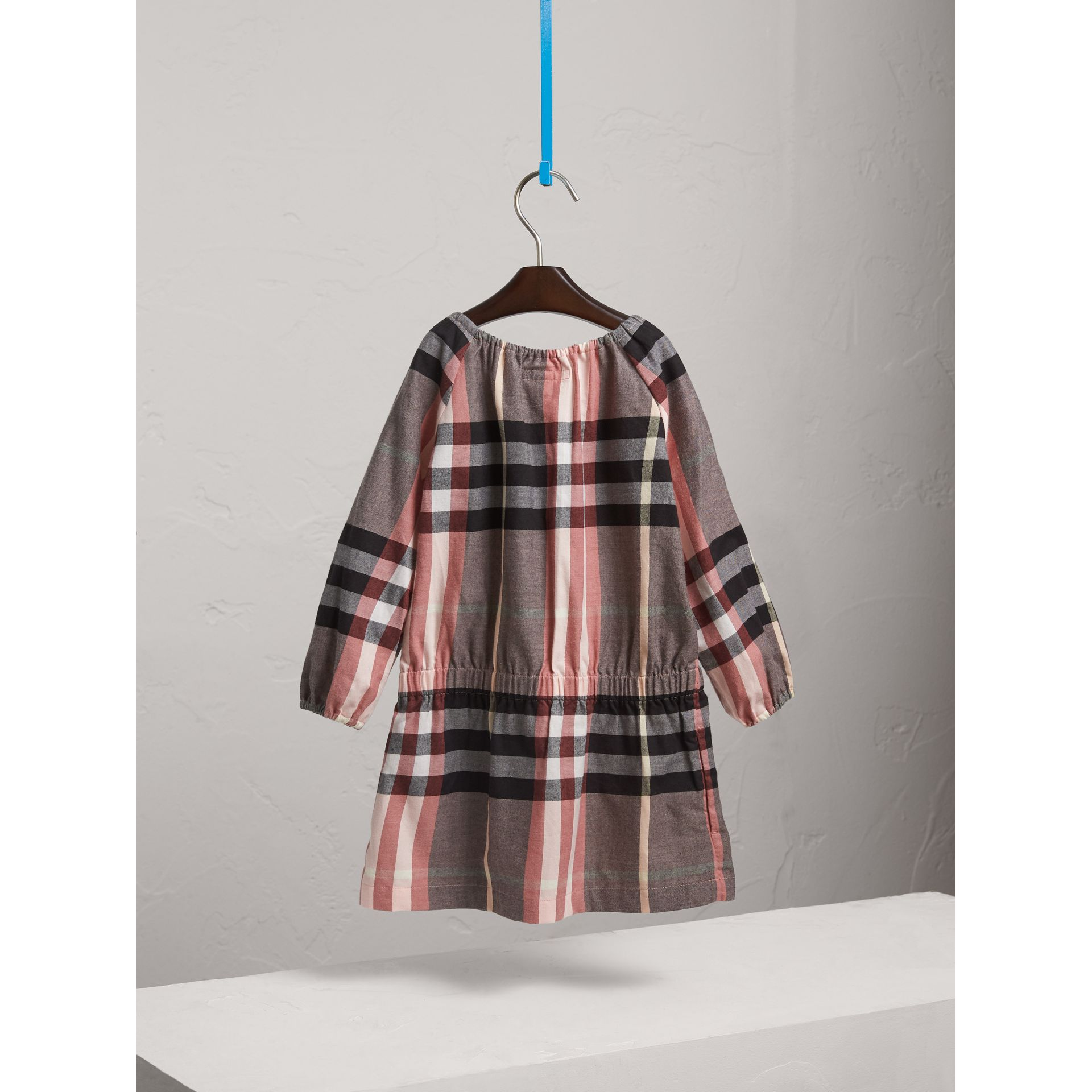 Gathered Check Cotton Flannel Dress in Dusty Pink - Girl | Burberry - gallery image 4