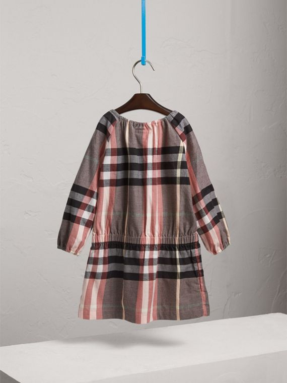 Gathered Check Cotton Flannel Dress in Dusty Pink - Girl | Burberry - cell image 3