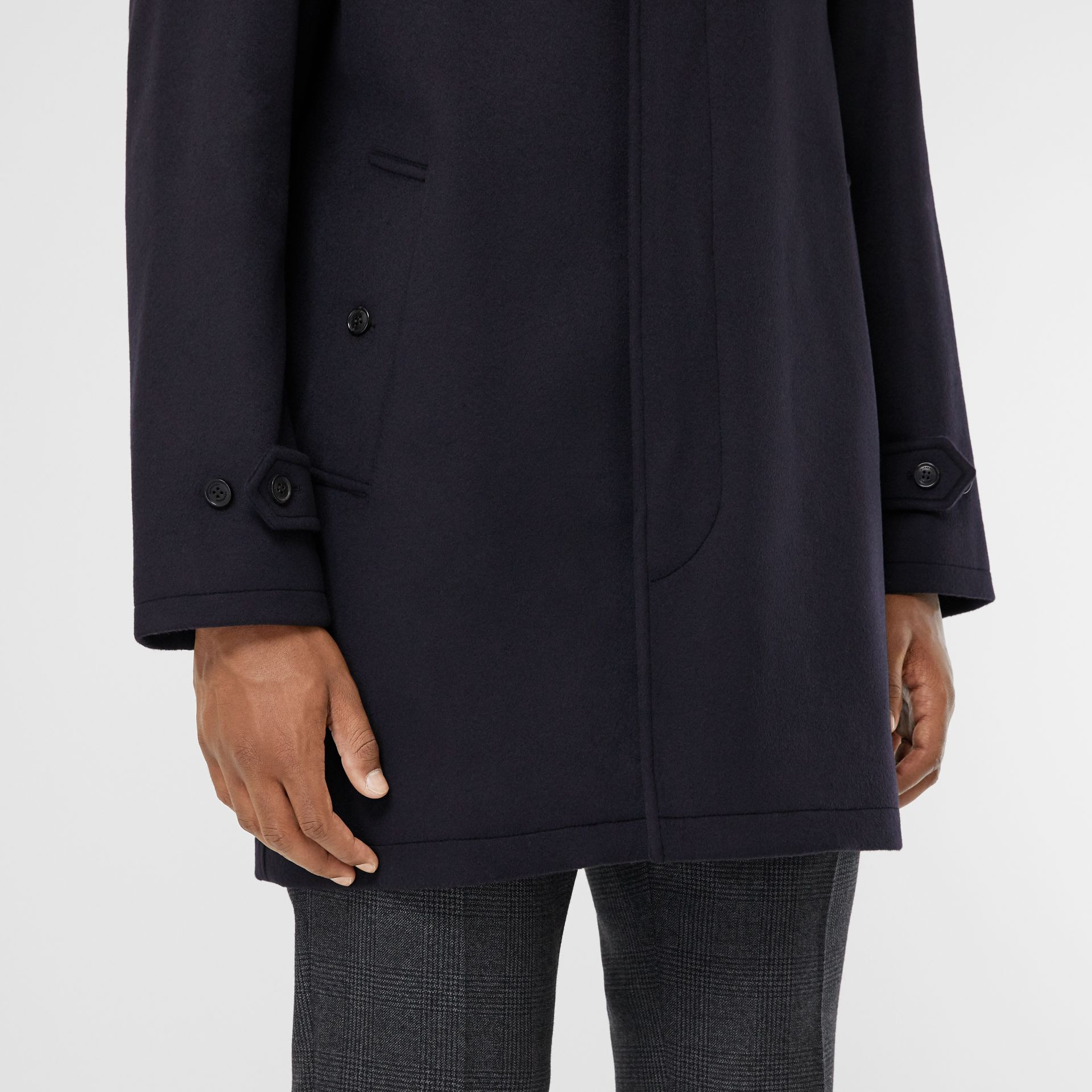 Wool Cashmere Car Coat in Navy - Men | Burberry Australia - gallery image 5