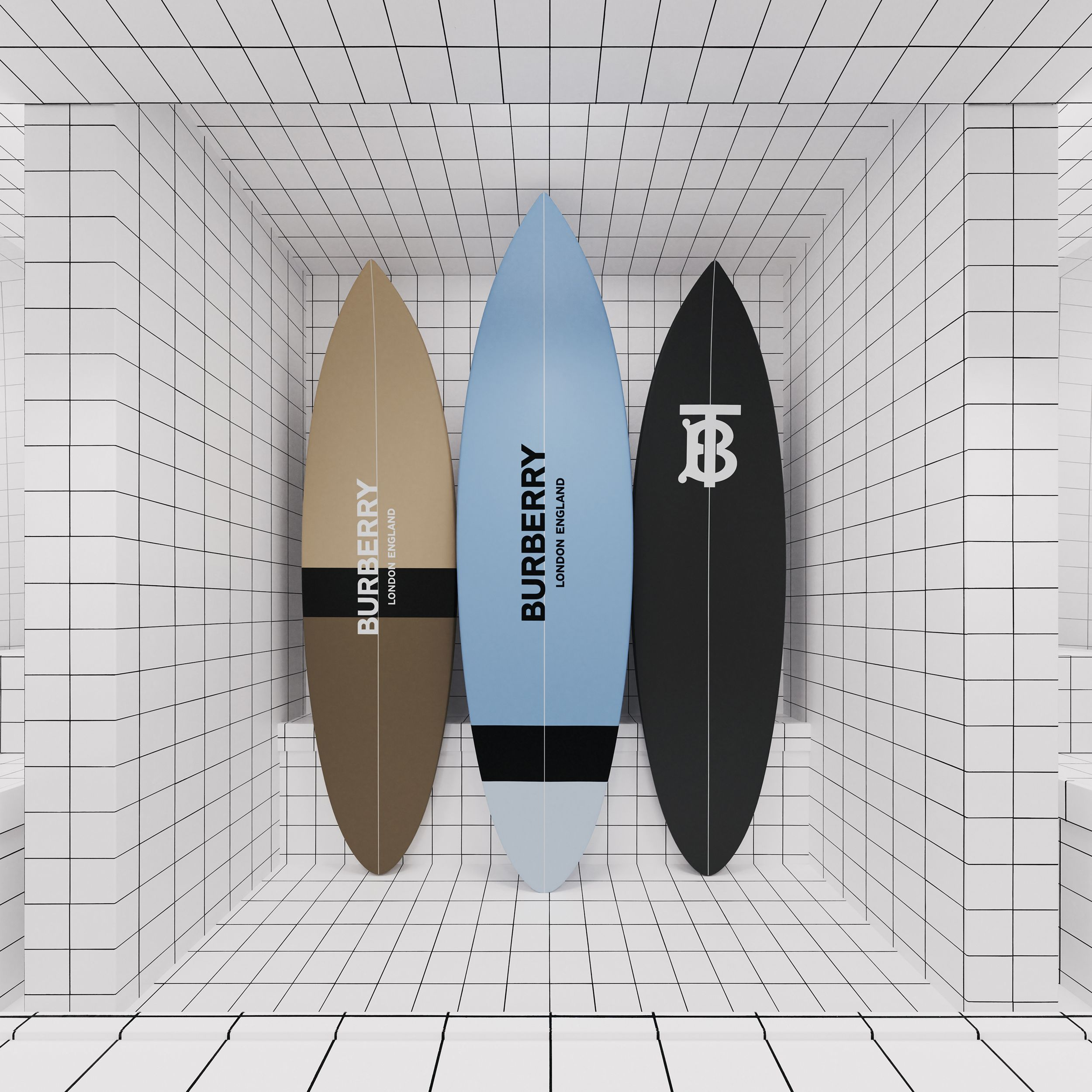 Monogram Print Surfboard in Pale Azure | Burberry United Kingdom - 2