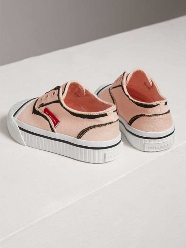 Scribble Print Slip-on Sneakers in Pale Rose Pink | Burberry - cell image 2
