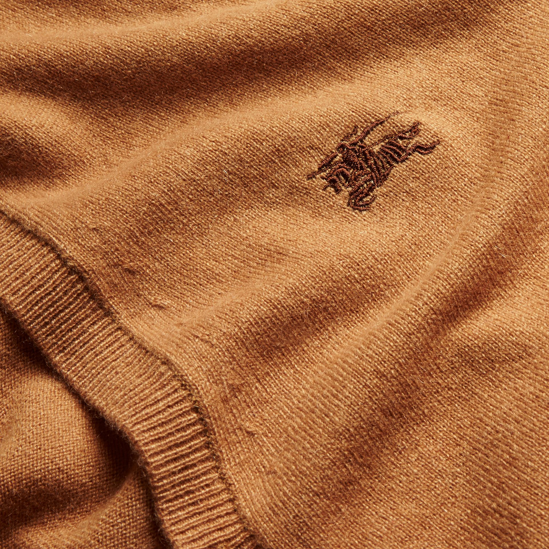 V-Neck Cashmere Cardigan in Mid Camel - gallery image 2