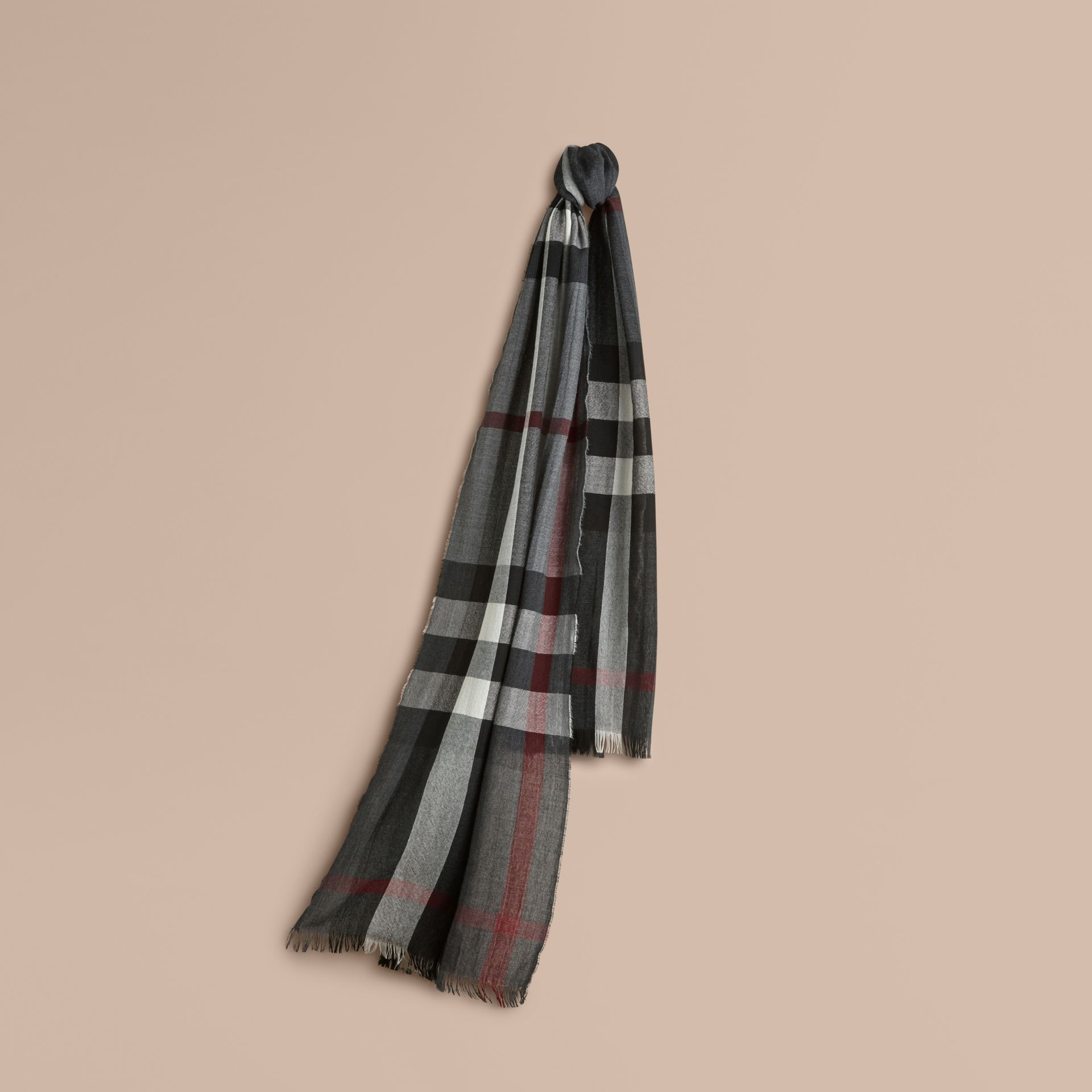 Lightweight Check Wool Cashmere Scarf in Charcoal - gallery image 1