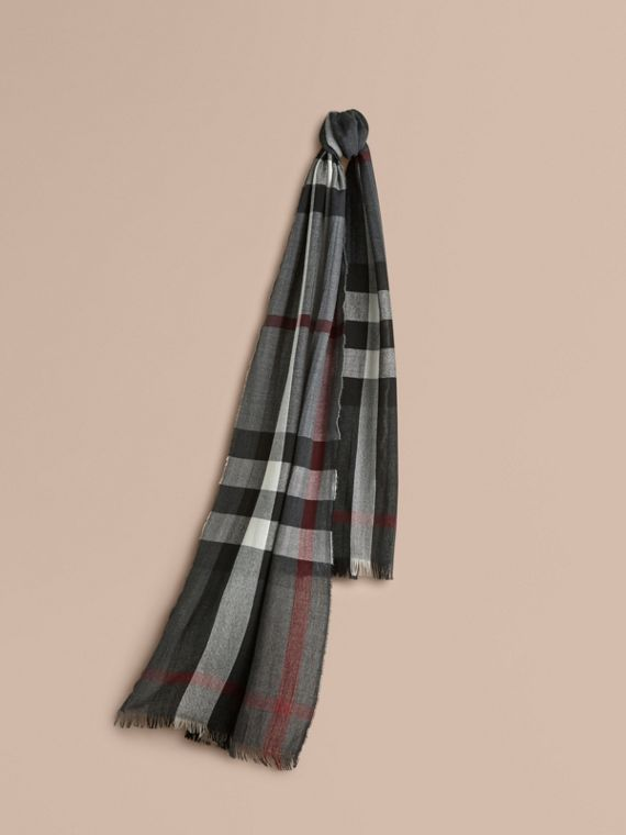 Lightweight Check Wool Cashmere Scarf Charcoal