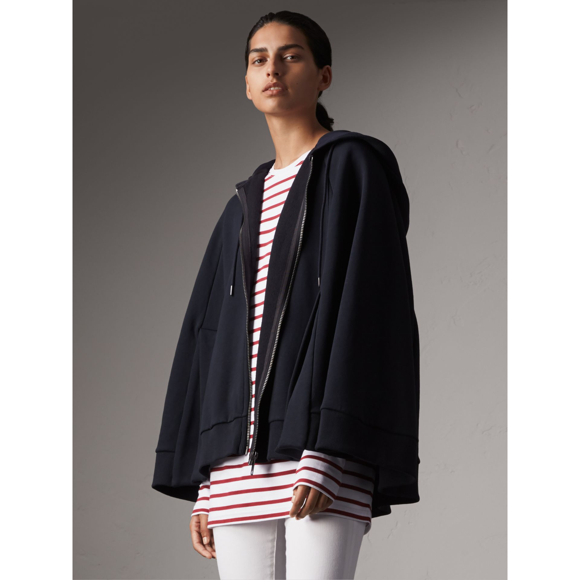 Jersey Hooded Cape in Navy - Women | Burberry United States - gallery image 4