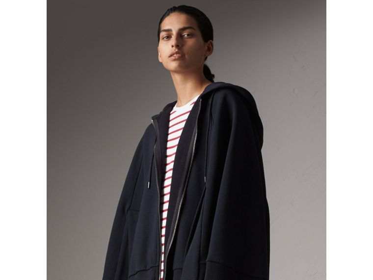Jersey Hooded Cape in Navy - Women | Burberry United States - cell image 4