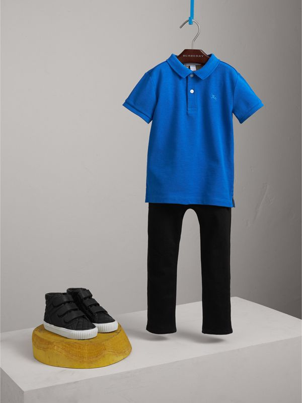 Check Placket Polo Shirt in Cobalt Blue | Burberry - cell image 2