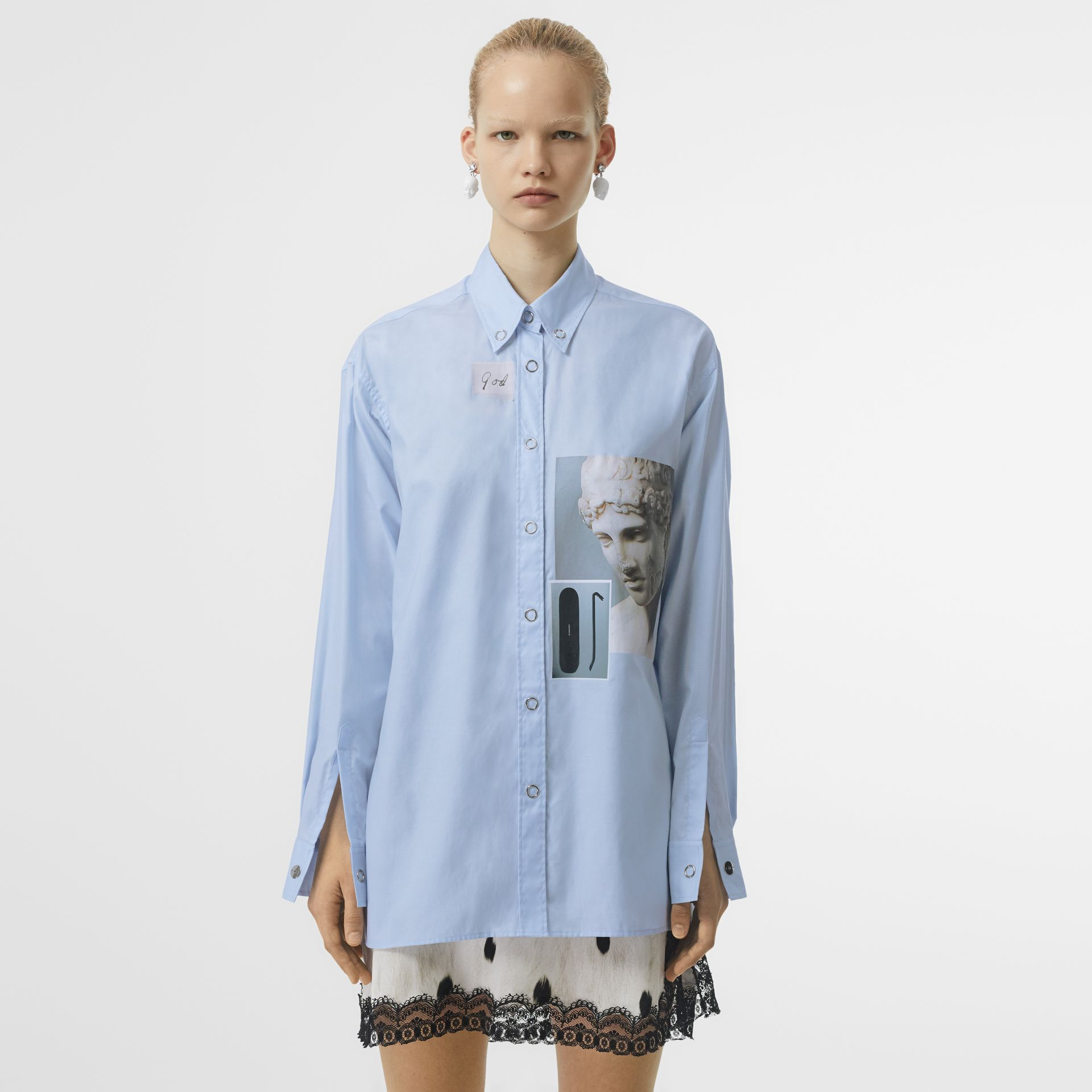 Press-stud Collar Montage Print Oversized Shirt in Pale Blue - Women | Burberry Hong Kong S.A.R - gallery image 0