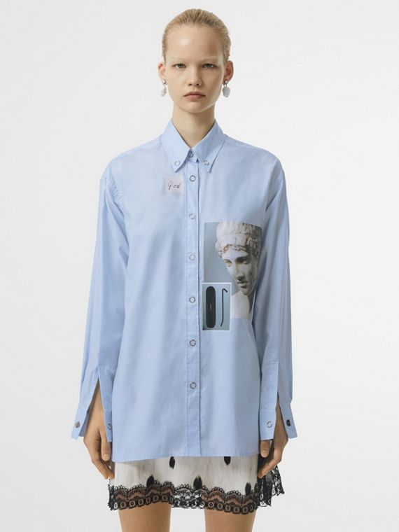 Press-stud Collar Montage Print Cotton Shirt in Pale Blue