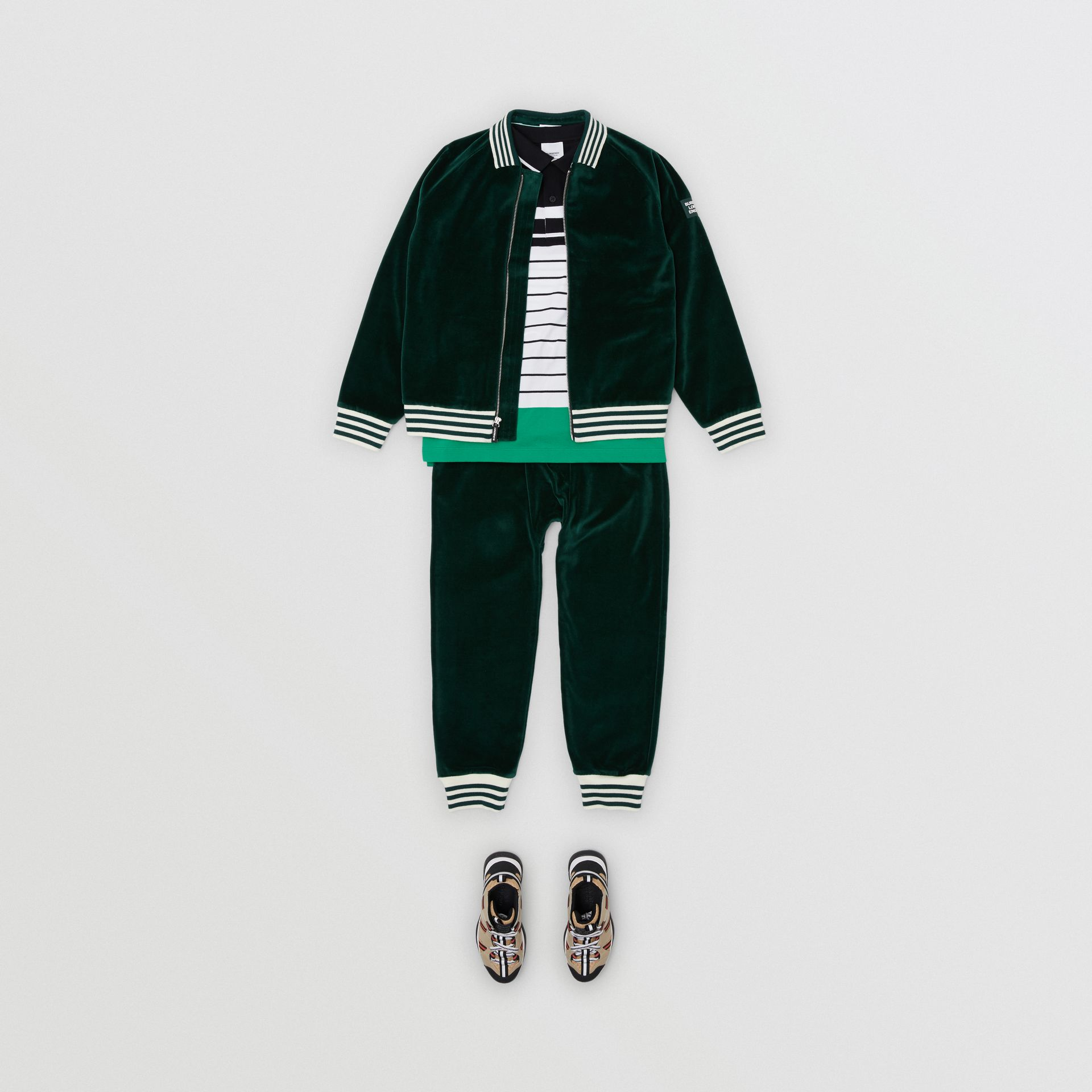 Stripe Trim Velour Trackpants in Dark Pine Green | Burberry - gallery image 2