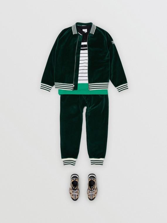 條紋飾邊天鵝絨運動褲 (暗松柏綠)