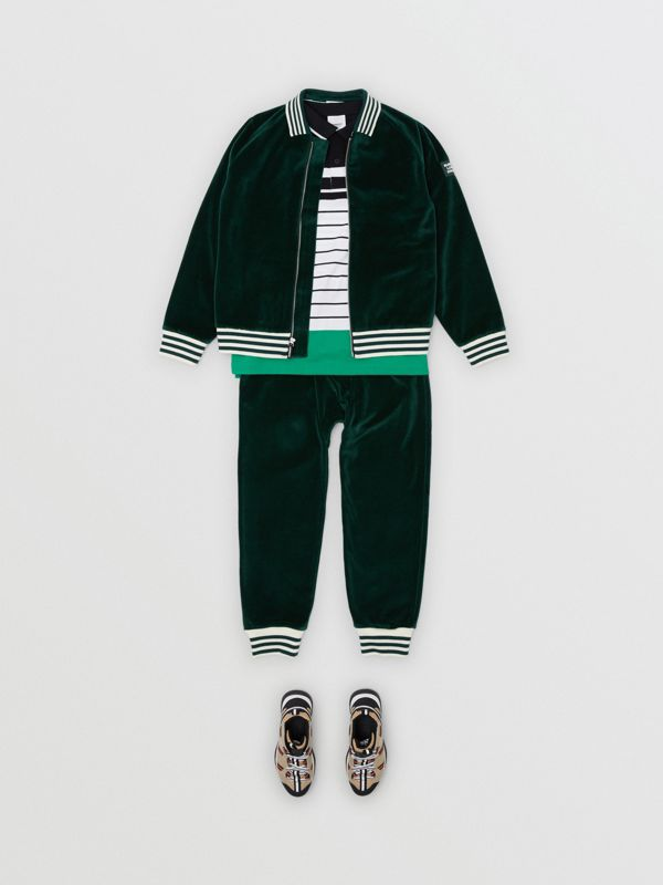 Stripe Trim Velour Trackpants in Dark Pine Green | Burberry - cell image 2