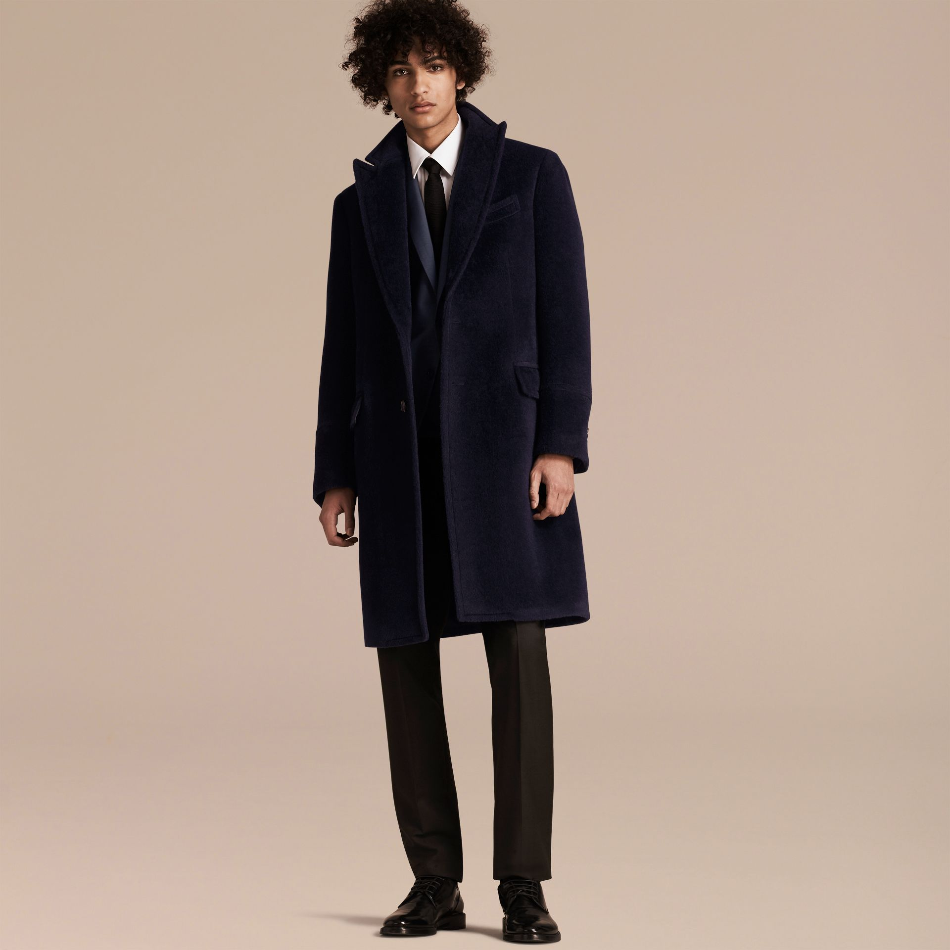 Navy black Alpaca Wool Overcoat - gallery image 7