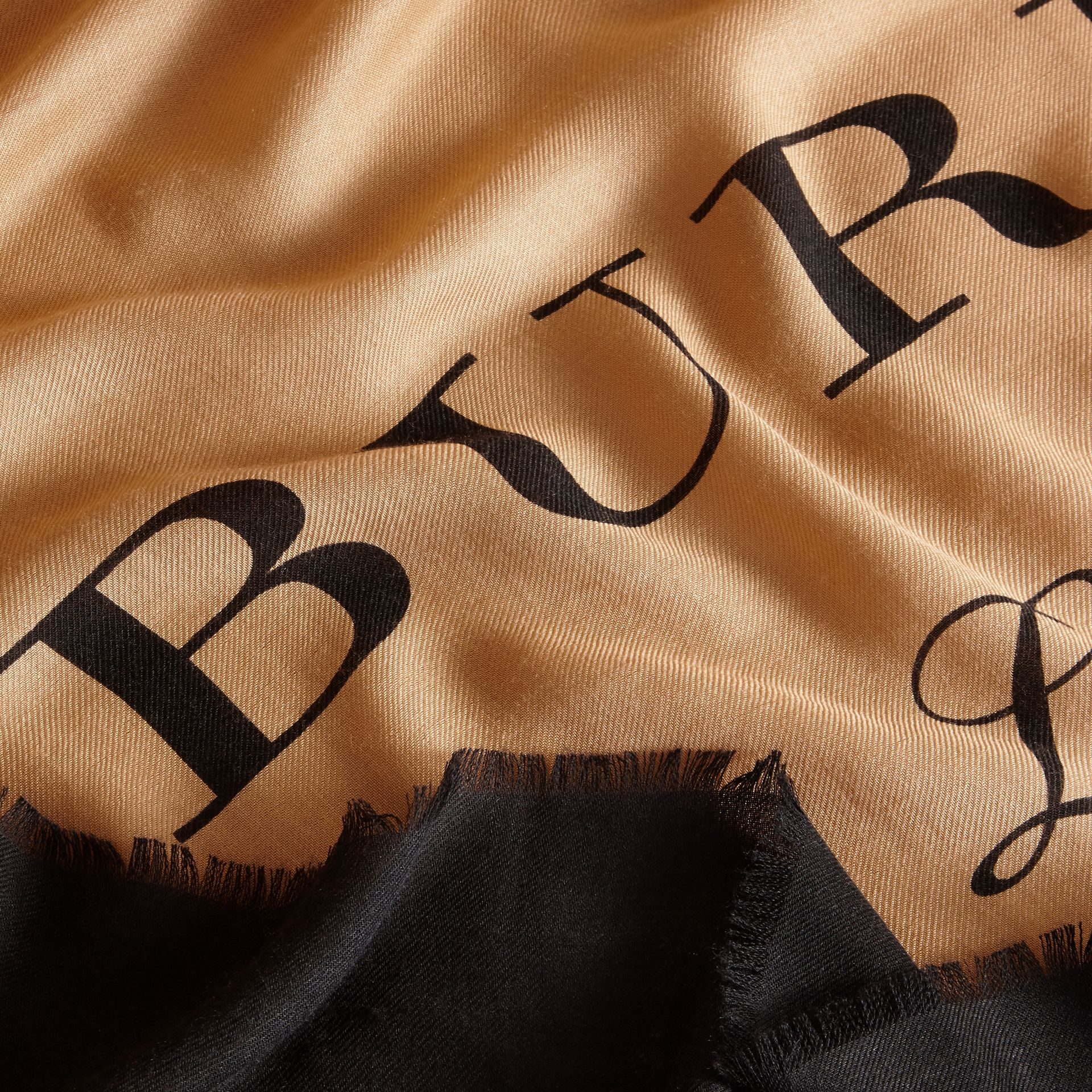 Burberry Print Cashmere Blend Scarf Camel/black - gallery image 2