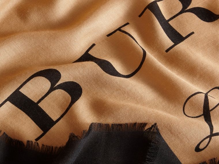 Burberry Print Cashmere Blend Scarf Camel/black - cell image 1