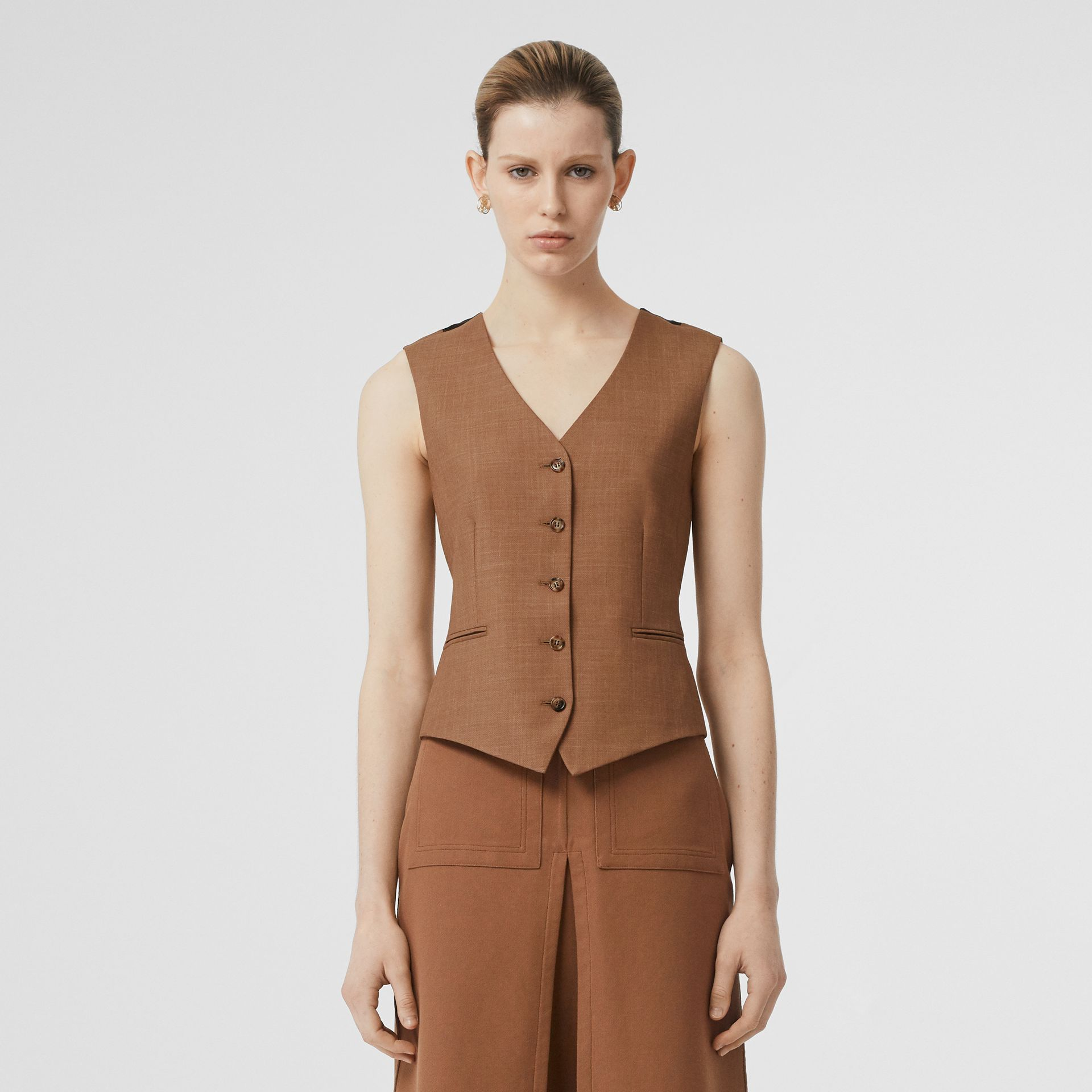 Satin Panel Mohair Wool Blend Tailored Waistcoat in Bronze - Women | Burberry - gallery image 6