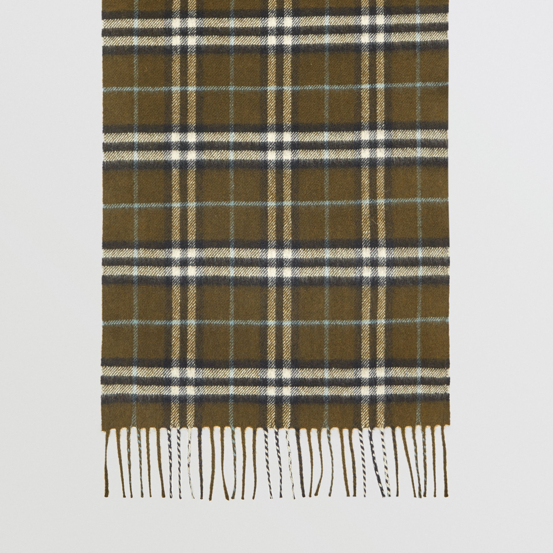 The Classic Vintage Check Cashmere Scarf in Military Brown | Burberry Australia - gallery image 4