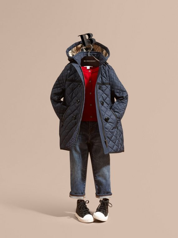 Diamond-quilted Coat with Detachable Hood in Ink Blue