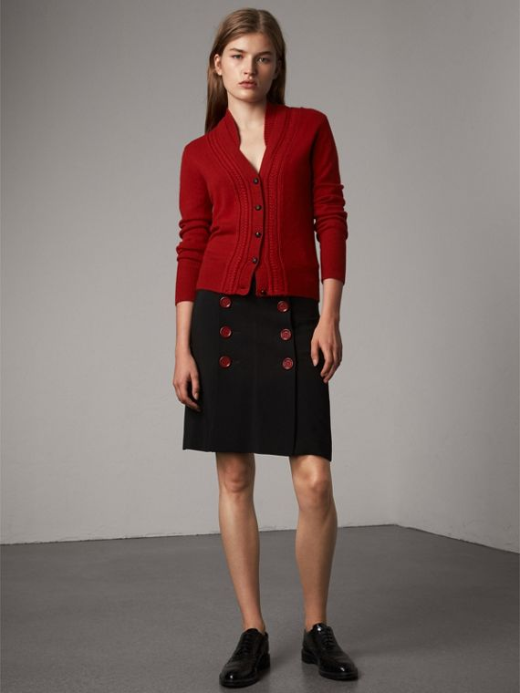 Cable Knit Detail Cashmere Cardigan in Military Red - Women | Burberry