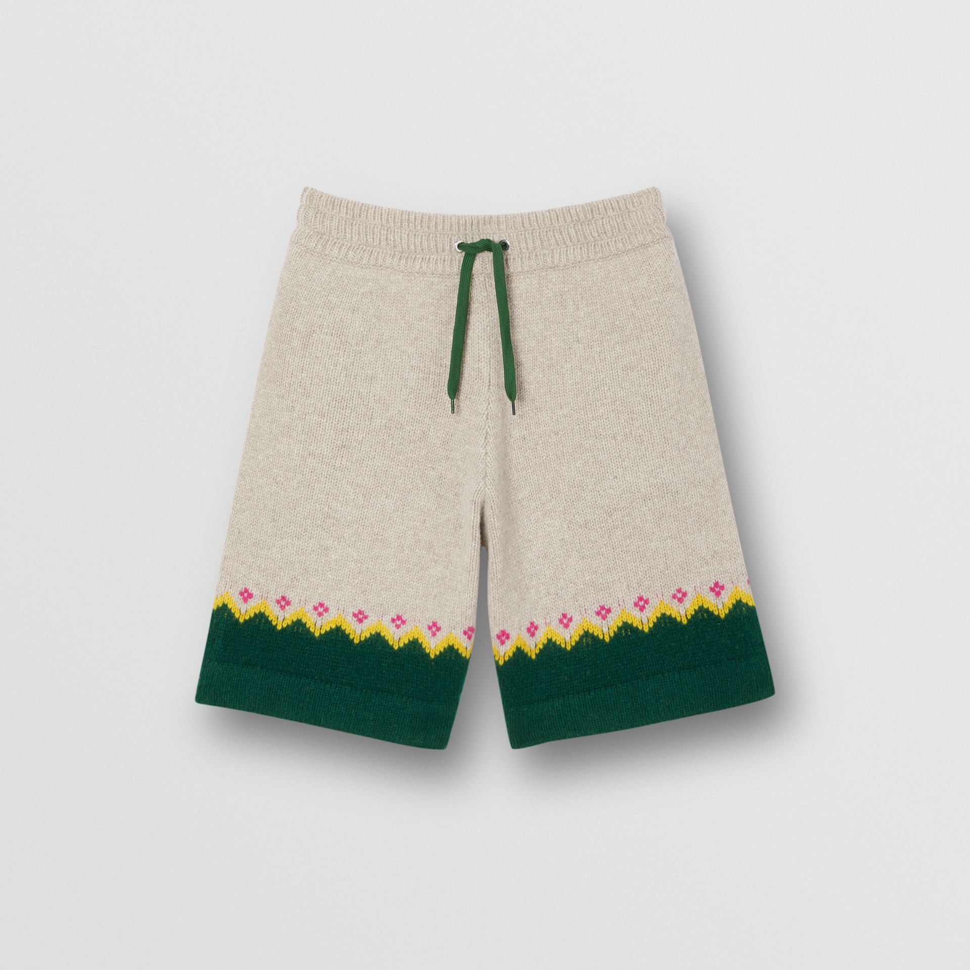 Fair Isle Wool Drawcord Shorts in Sesame - Men | Burberry Hong Kong S.A.R - gallery image 3