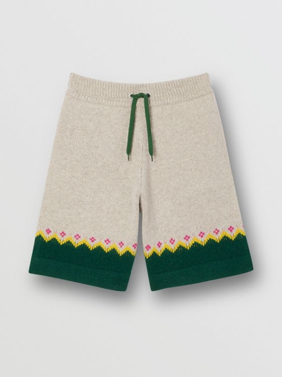 Fair Isle Wool Drawcord Shorts in Sesame