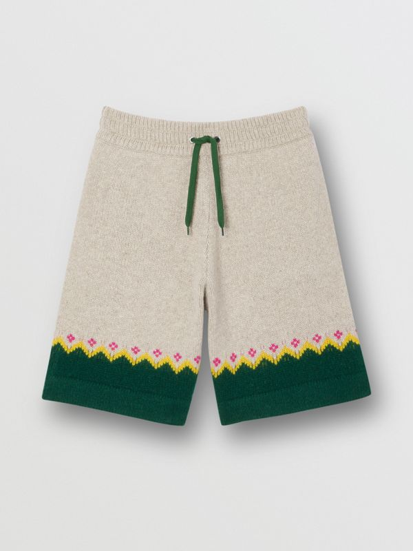 Fair Isle Wool Drawcord Shorts in Sesame - Men | Burberry Hong Kong S.A.R - cell image 3