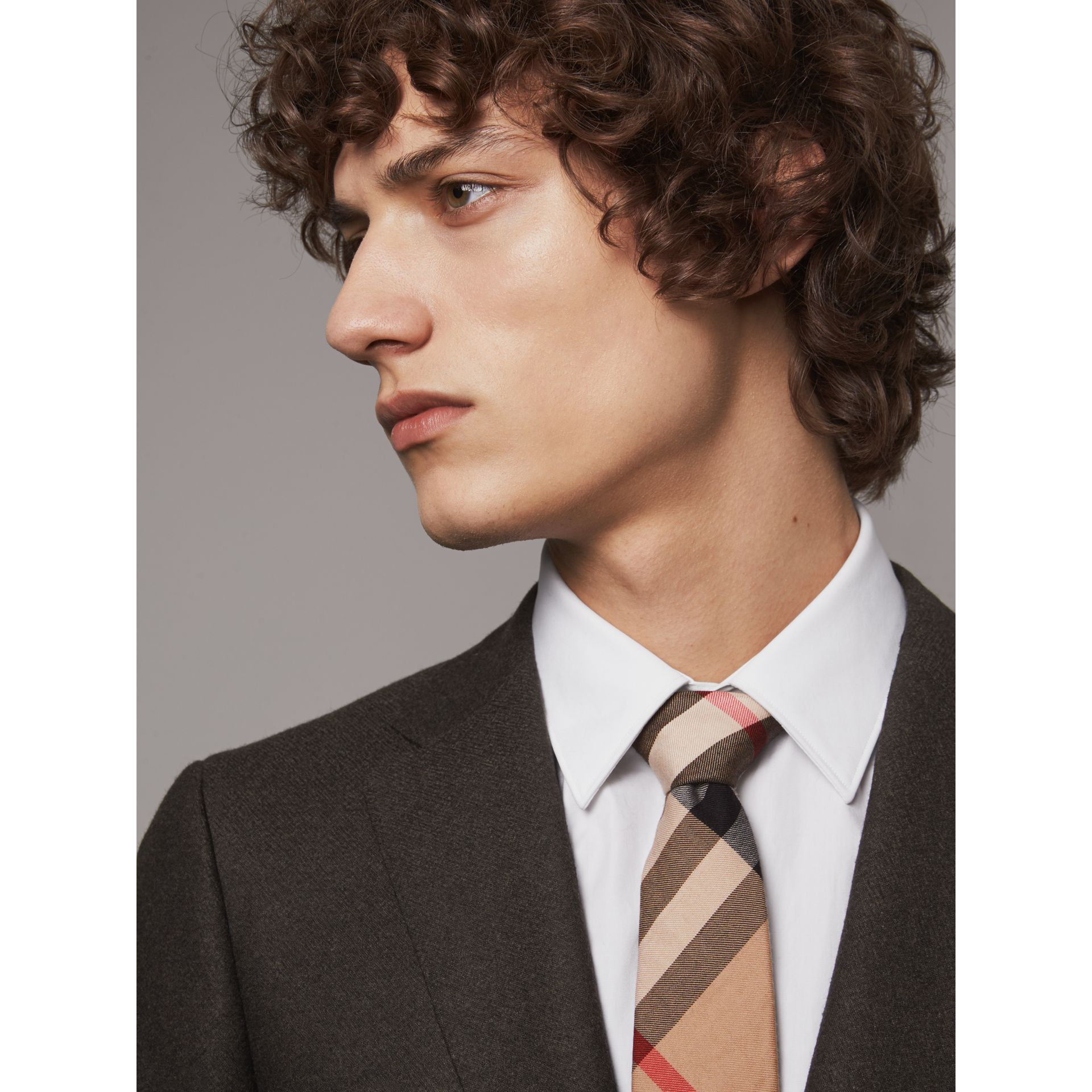 Modern Cut Check Cotton Cashmere Tie in Camel - Men | Burberry Singapore - gallery image 3
