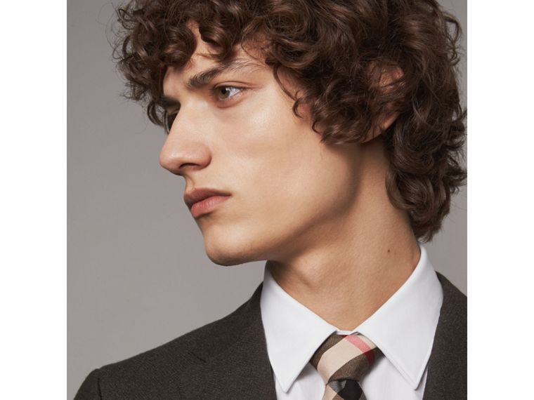Modern Cut Check Cotton Cashmere Tie in Camel - Men | Burberry Canada - cell image 2